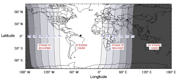 Where the eclipse will be visible