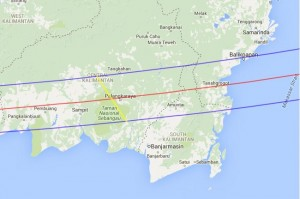Total Eclipse Path - Central Kalimantin
