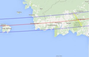Total Eclipse Path - East Kalimantin
